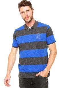 Camisa Polo Enfim Listras Azul/Cinza
