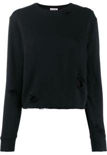 Saint Laurent Distressed Details Knitted Sweater - Preto