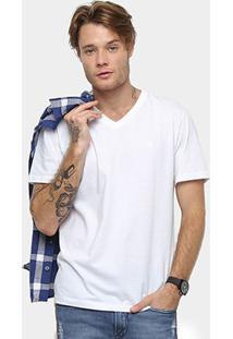 Camiseta Cavalera Básica Gola V Masculina - Masculino-Branco