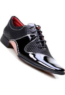 Sapato Social Masculino Em Couro De Amarrar Calvest - Masculino-Preto