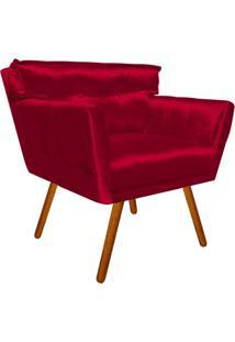 Poltrona Decorativa Anitta Acetinado Vermelho Trabalhado - D'Rossi