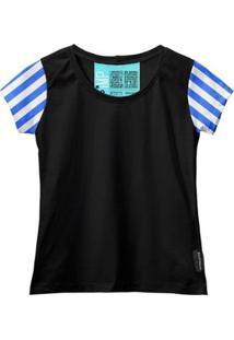 Camiseta Baby Look Feminina Algodão Listrada Estilo Moda - Feminino-Azul+Preto