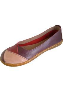 Sapatilha Scarpe Bico Redondo Vinho