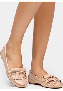 Mocassim Couro Shoestock Franjas Feminino - Feminino