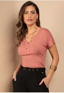 Blusa Rosa Manga Curta Com Decote V