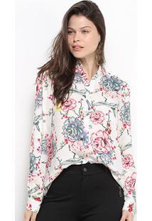 Camisa Facinelli Floral Manga Longa Feminina - Feminino-Branco