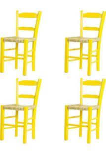 Kit 4 Cadeiras Lagiana Pequenas Eucalipto Amarela Assento Palha - 59474 - Sun House