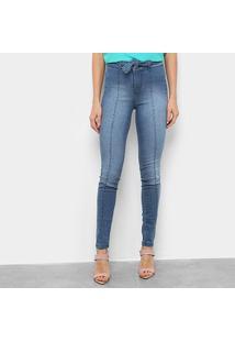 Calça Jeans Skinny Estonada Amarração Feminina - Feminino-Azul