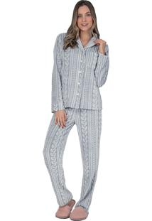 Pijama Aberto Fleece Glace - Lua Luá - Cinza - Tricae