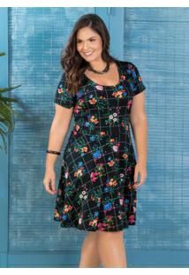 Vestido Evasê Plus Size Floral Dark Marguerite