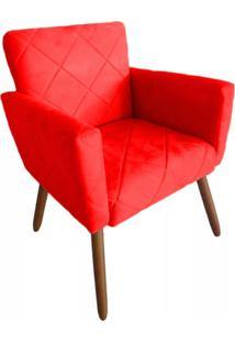 Poltrona Decorativa Pã©S Palito Nina Estilo Costura Vermelho - Ds Mã³Veis - Vermelho - Dafiti