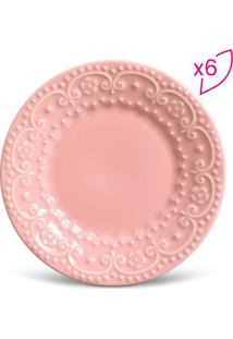 Jogo De Pratos Para Sobremesa Esparta- Rosa- 6Pçs