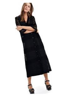 Vestido Midi Mix Tecidos Preto