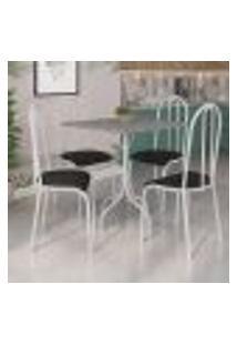 Conjunto De Mesa Malaga Com 4 Cadeiras Alicante Branco E Preto