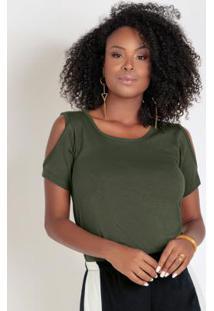 Blusa Verde Militar Com Recortes Nos Ombros