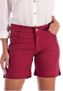 Bermuda Sisal Jeans Meia Coxa Vinho