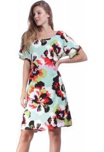 Vestido Amazonia Vital Curto Quadrado Garden Urban Feminino - Feminino-Verde+Vermelho