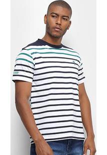 Camiseta Aleatory Fio Tinto Listras Horizontais Masculina - Masculino-Marinho+Verde