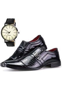 Sapato Social Dhl Calçados Neway Ws Shoes Estampado Preto Relógio