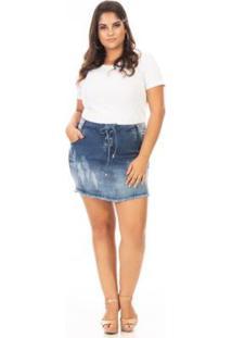 Saia Curta Jeans Lace Up Plus Size Confidencial Extra Feminina - Feminino-Azul