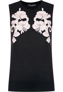 Dolce & Gabbana Blusa De Tricô Com Aplicações - Preto