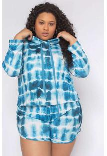 Blusa Almaria Plus Size Tal Qual Malha Capuz Azul