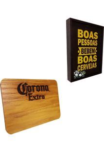 Quadro Porta Tampinhas Artesanal ''Boas Pessoas'' + Tábua De Maderia Corona