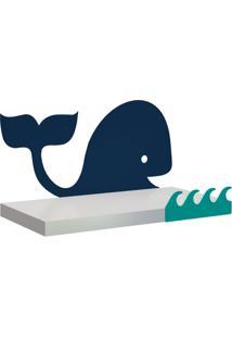 Prateleira Whale Branca E Azul 40X20 Cm