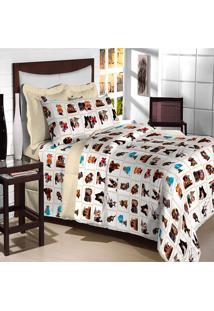Jogo De Cama Casal Textil Lar Dogs Percal 180 Fios