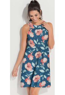 Vestido Curto Decote Trapézio Floral Rosê