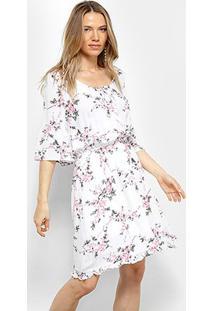 Vestido Facinelli Evasê Curto Estampado Com Amarração - Feminino-Branco+Rosa