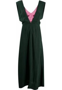 Colville Vestido Longo Com Sobreposição - Verde