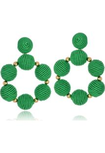 Brinco Le Diamond Bolas De Tecido Verde