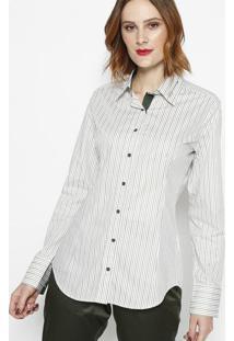 Camisa Listrada Com Recortes- Off White & Verde- Dbzdbz Jeans