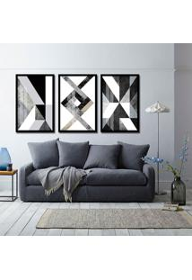 Quadro 60X120Cm Abstrato Apollo Moldura Preta E Vidro Decorativo