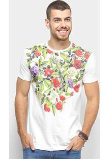 Camiseta Bulldog Fish Floral Masculina - Masculino-Off White
