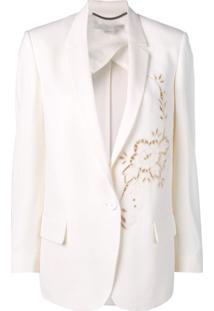 Stella Mccartney Blazer De Lã Com Aplicação Floral - Neutro