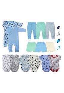 Kit Bebê 18 Peças Enxoval Maternidade Azul