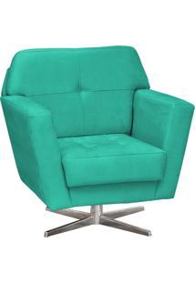 Poltrona Decorativa D'Rossi Esmeralda Suede Verde Tifffany Com Base Giratória Em Aço Cromado
