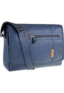 Bolsa Bennemann Carteiro Em Couro Laptop 15.6 Paris Azul