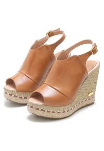Sandália Sb Shoes Ancoboot Anabela Ref.3400 Whisky