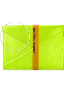 Mm6 Maison Margiela Clutch Envelope Metalizada - Green