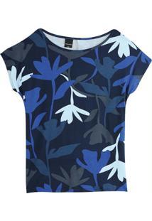 Blusa Azul Ampla Tropical Em Malha