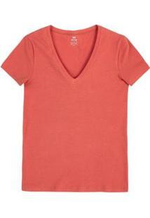Blusa Feminina Básica Decote V Com Elastano - Feminino-Coral