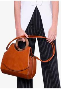 Bolsa Paseo Couture Por Monica Benini Feminina - Feminino-Caramelo