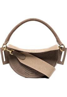 Yuzefi Dip Snake-Effect Leather Shoulder Bag - Cinza