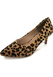 Scarpin Dalí Shoes Bico Fino Salto Fino Baixo Animal Print Marrom