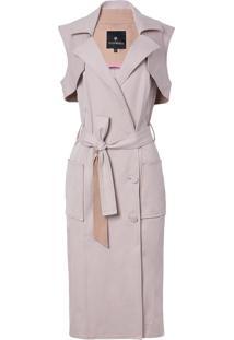 Vestido Le Lis Blanc Alissa Pala Removível Midi Alfaiataria Off White Feminino (Light Malva / Roe Buck, 50)