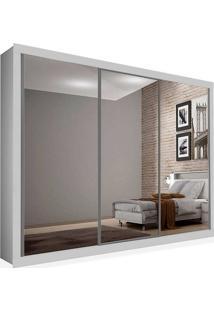 Armário 03 Portas De Correr 2,16 Espelho Total, Branco, Premium Plus Ii