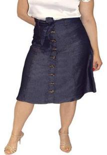 Saia Jeans Midi Moda Plus Size Evasê Sob Com Amarração - Feminino-Azul Escuro